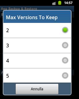 App Backup & Restore - numero versioni da mantenere