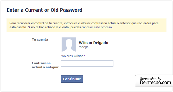 Facebook: Password antiguo