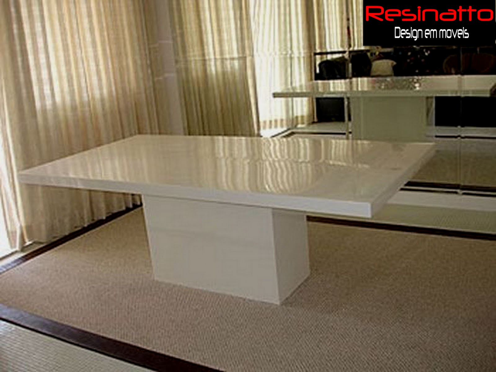 Sala De Jantar Resina Branca ~ Resinatto Design Mesa de Jantar em Resina Branca