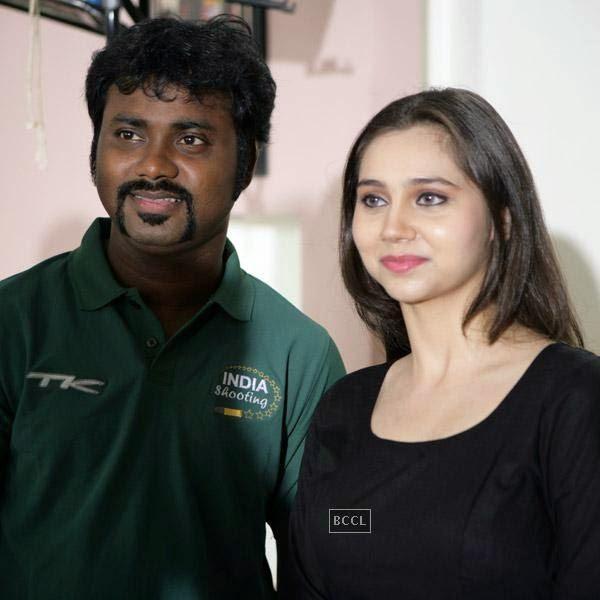 Writer Aaryaan Saxena and Sasha Agha on the sets of movie Desi Kattey.