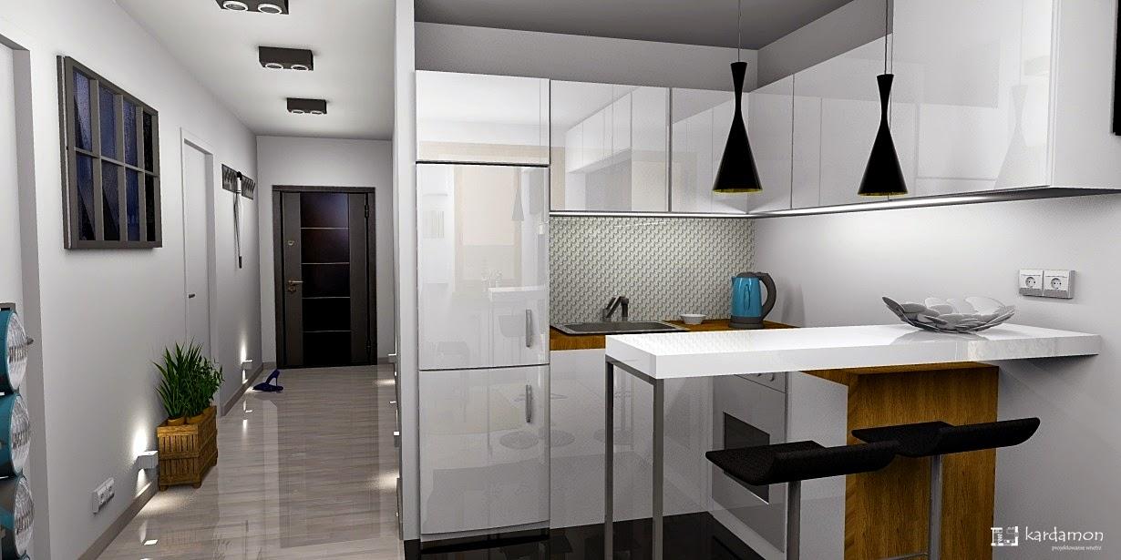 Salon z aneksem kuchennym na małej powierzchni 14m2.