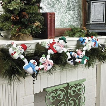 Plush Snowman Garland - Party Decorations & Garland