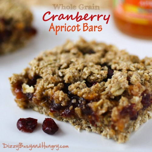 Whole Grain Cranberry Apricot Bars by Dizzy, Busy, and Hungry