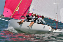 J/80 women's sailing team off Hamble, Solent, UK