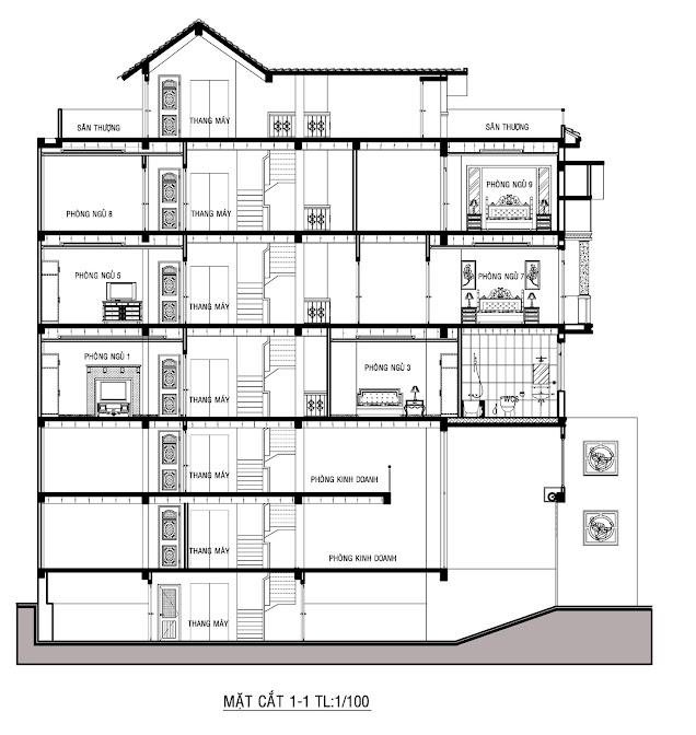 mặt cắt căn hộ penthouse