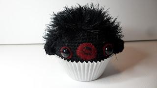 Cute Amigurumi crochet cupcake bear,Ebony