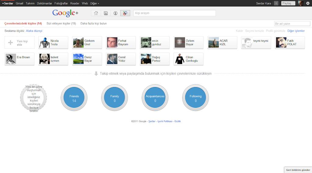 Google Plus Çevreler