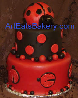 Custom Black And Red Two Tier Lady Bug Girlu0027s Baby Shower Cake