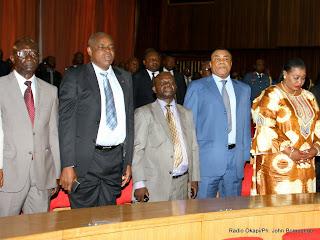 Des sénateurs lors de l'ouverture de la session parlementaire ordinaire le 15/03/2014 au palais du peuple de Kinshasa. Radio Okapi/ Ph. John Bompengo
