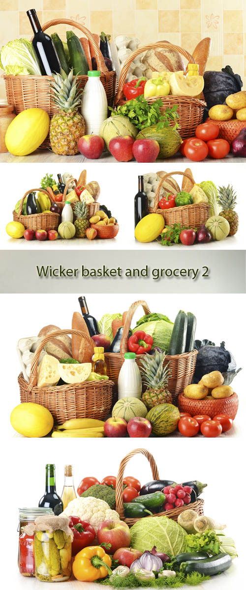 Stock Photo: Wicker basket and grocery 2