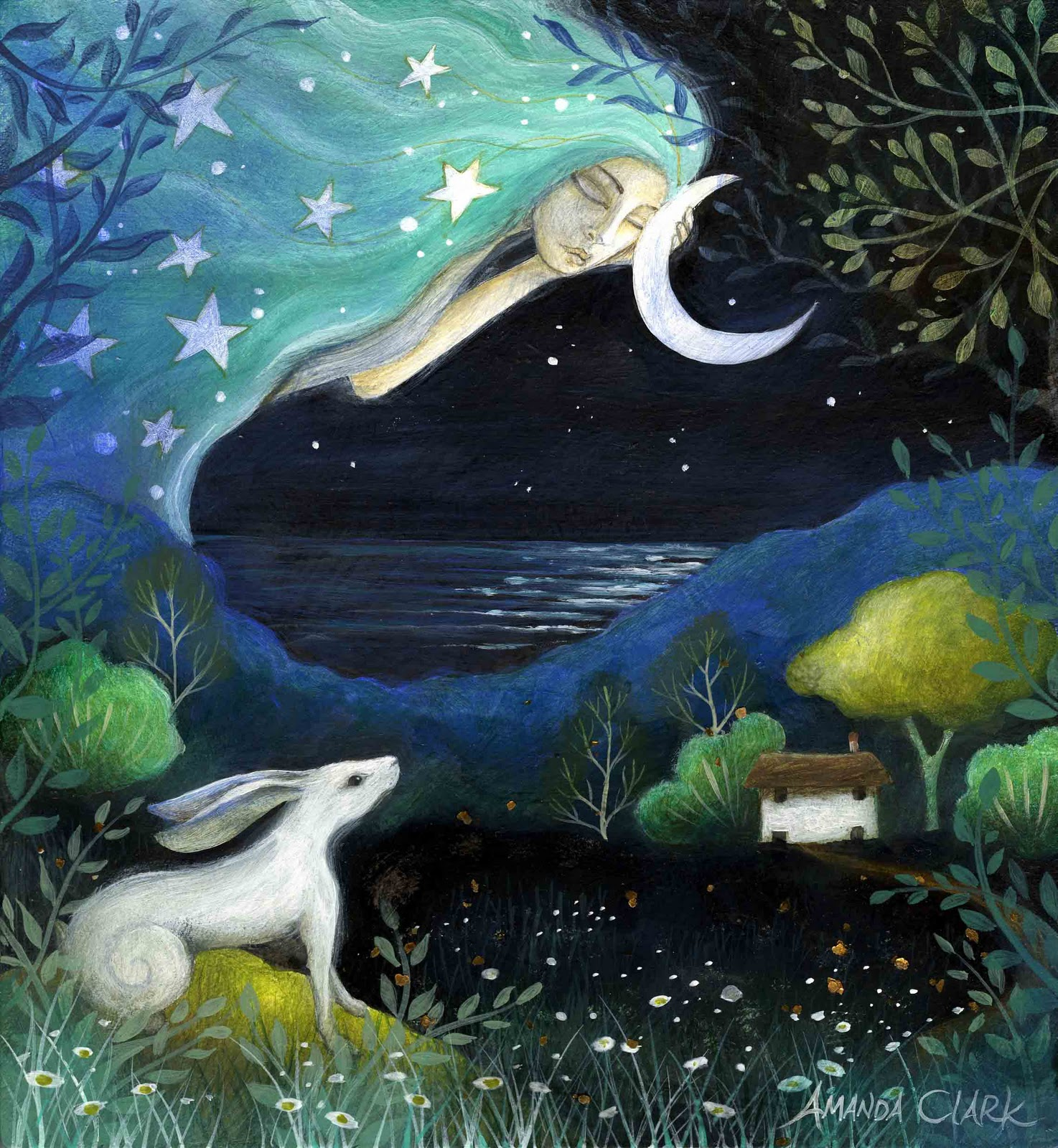 Earth angels art art and illustrations by amanda clark moon dreams and fields of jade - The hideout in the woods an artists dream ...