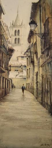 Acuarela del pintor leonés Juan Ramón Alves Fernández