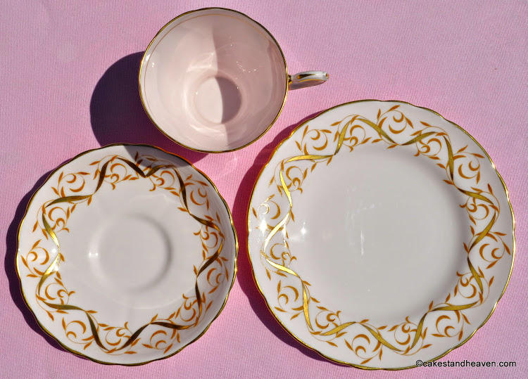 Tuscan pink and gold vintage teacup trio