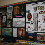 In our elementary program, we surround students with images of the historical period they study. Here is a classroom during the study of Ancient Rome.