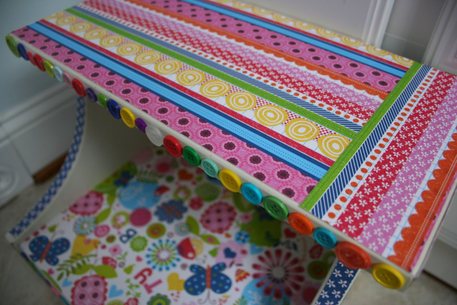 Pink And Green Mama Mod Podge Step Stool Makeover