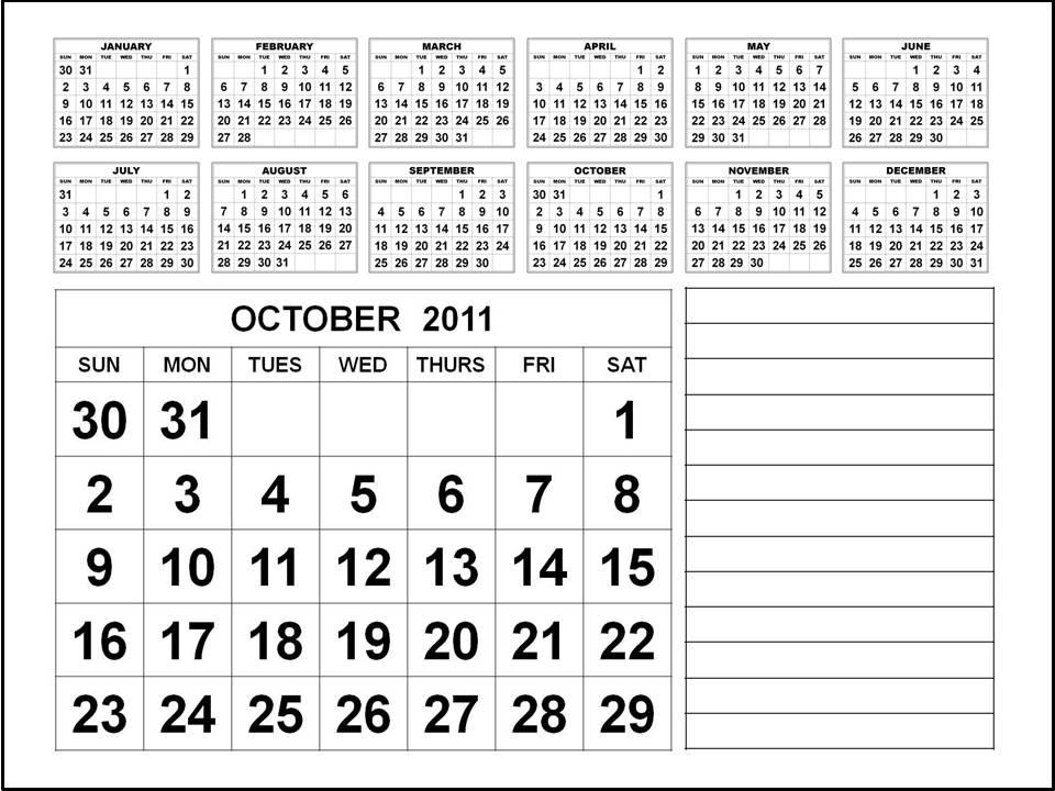 october 2011 calendar. Calendar 2011 October :