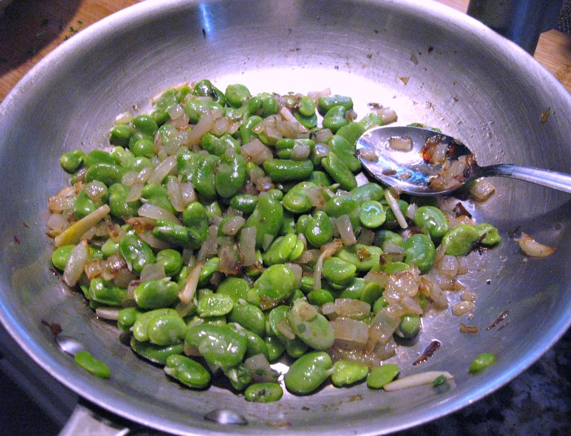 Sauteed Fava Beans with thyme and red onion
