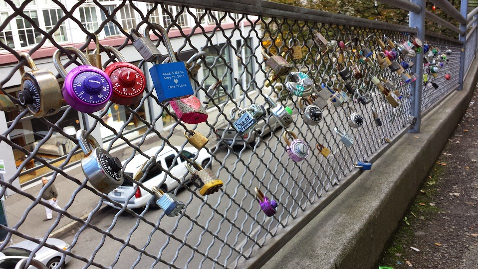 Seattle WA padlocks on fence