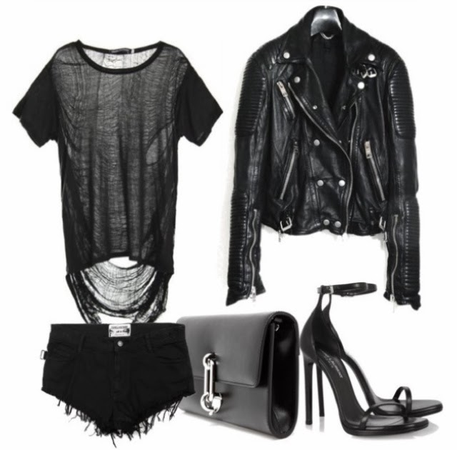 Balenciaga polished leather clutch, Saint Laurent leather sandals, Zadig and Voltaire mini short