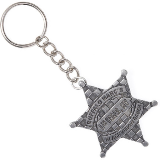 Marc by Marc Jacobs Vegas Badge Keychain Pewter Las Vegas Star