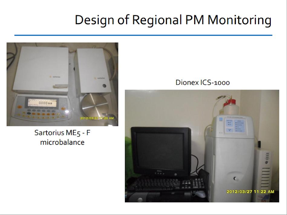 Regional PM Monitoring: Sartorius ME5-F microbalance and Dionex ICS-1000