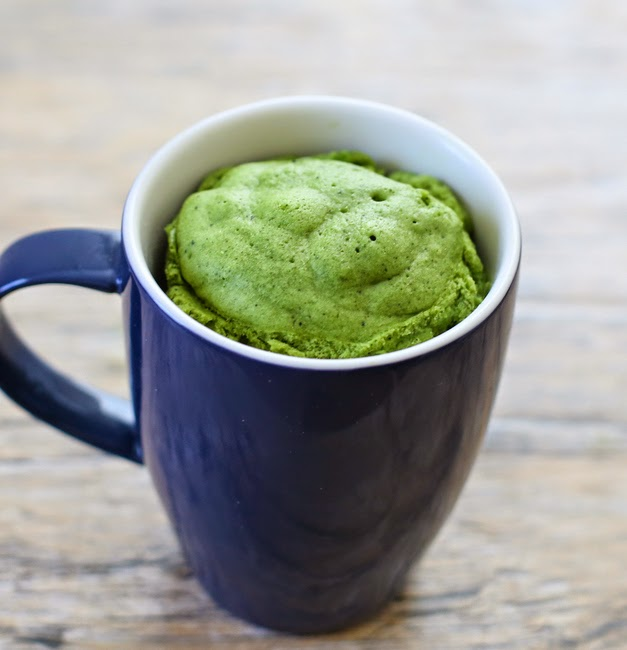close-up photo of matcha green tea mug cake