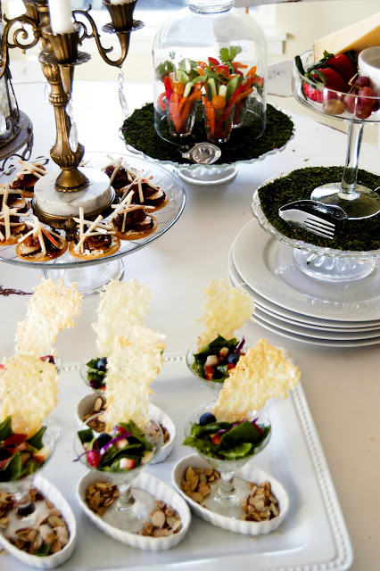 How to set a bufffet table- The Style Sisters, appetizers, stacking plates