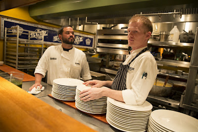 Executive chef, Jordan Taylor, and Pastry chef, Warren Pinkston Kaam, in Zeus Café's open kitchen, Photo credit: McMenamins/Kathleen Nyberg