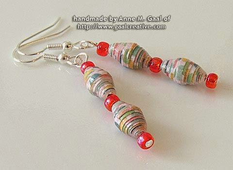 Silver and Pink Paper Bead French Hook Earrings handmade by Anne Gaal of http://www.gaalcreative.com