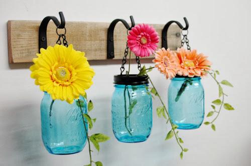 Pineknobsandcrickets.etsy.com, blue mason jar vases