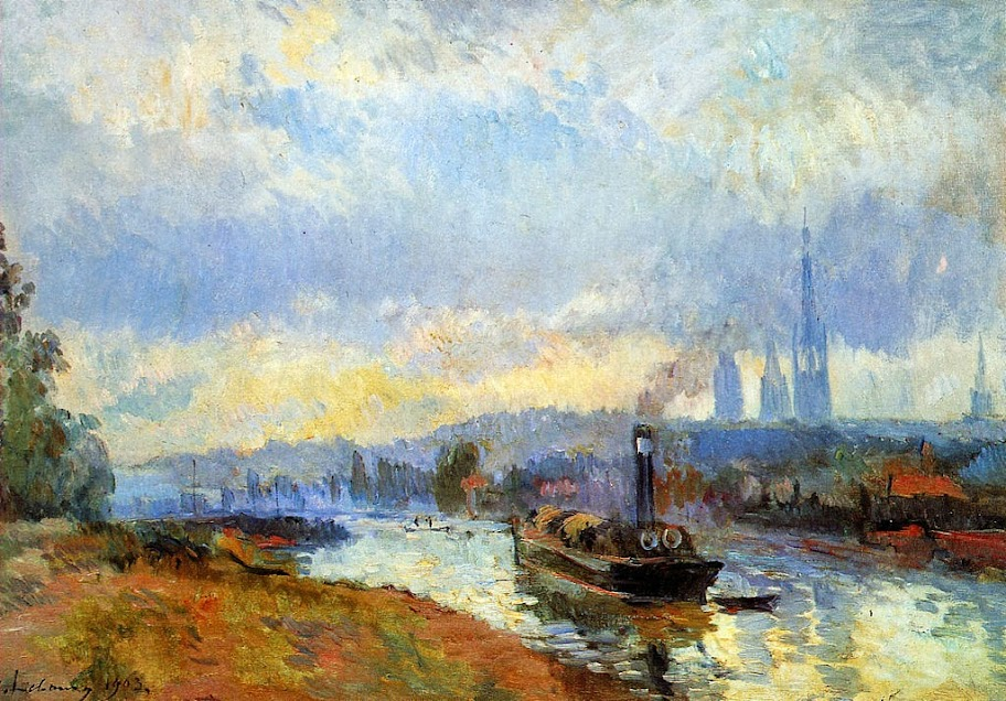 Albert Lebourg - Tow boats in Rouen