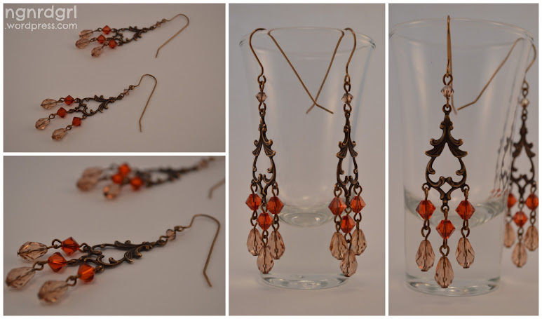 Faux Antique Cyrstal Chandelier Earrings