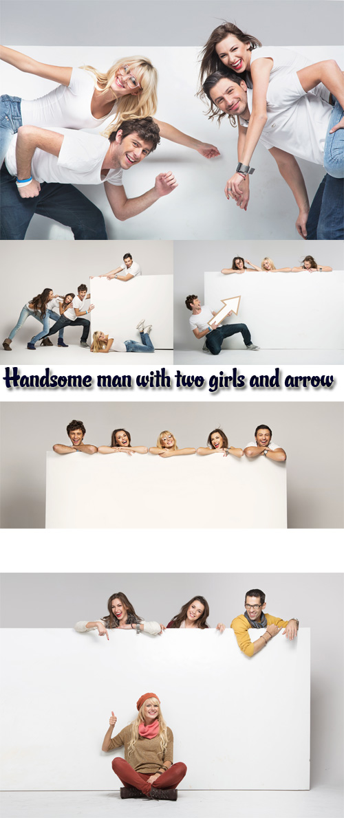 Stock Photo: Handsome man with two girls with white poster