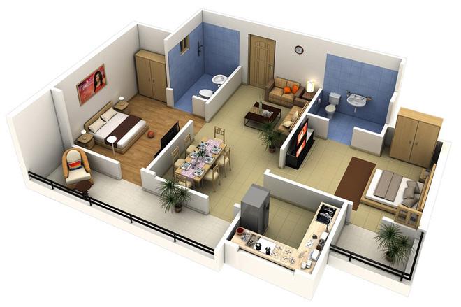 Các kiểu bố trí căn hộ 2 Phòng ngủ diện tích từ 60 đến 80m2 cực đẹp