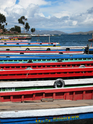 Bus ferries on the river en route from Copacabana to La Paz Bolivia