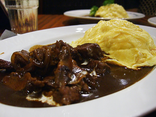 Beef stroganov and omu rice