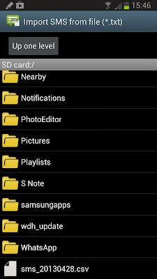 Elegir CSV de SMS