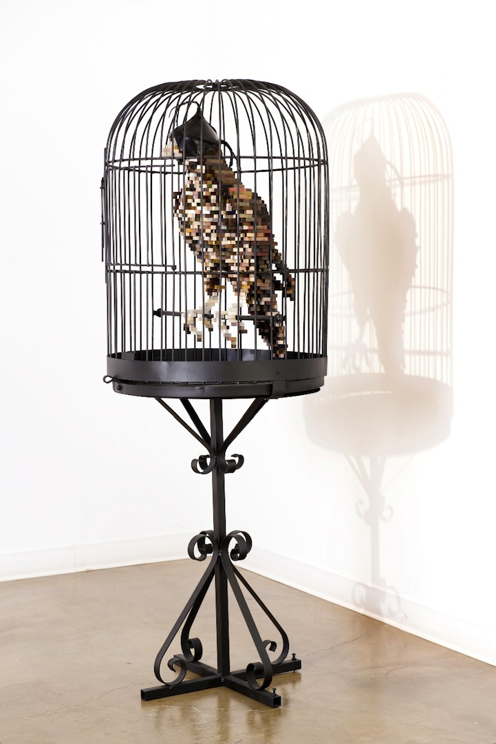 Esculturas de animales pixelados
