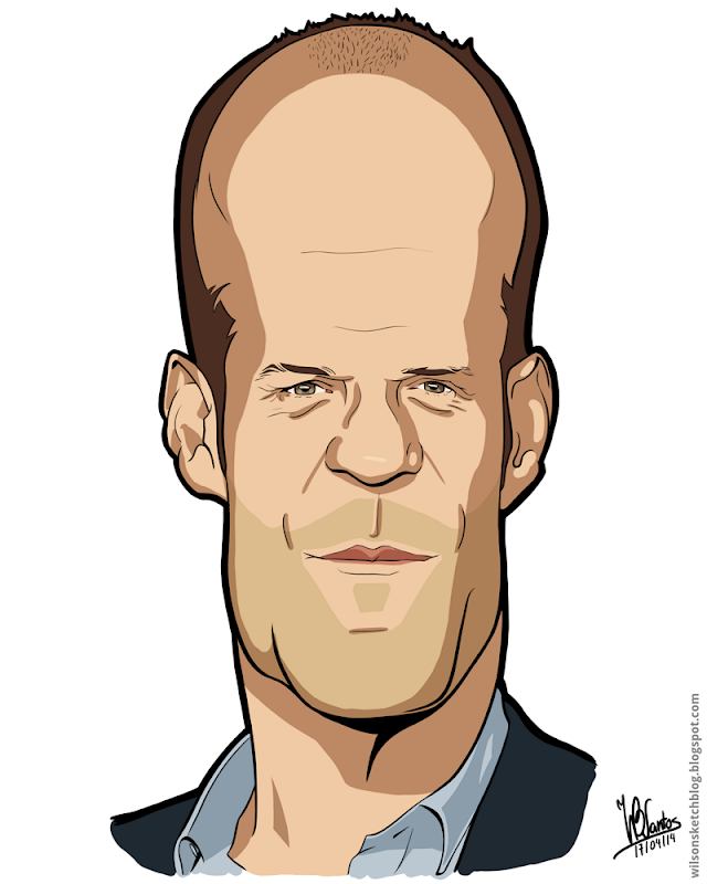Cartoon caricature of Jason Statham, using Krita.