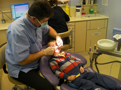 checkup in the dentist's chair for the first time