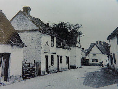 Now demolished cottages in Hauxton Road, Little Shelford