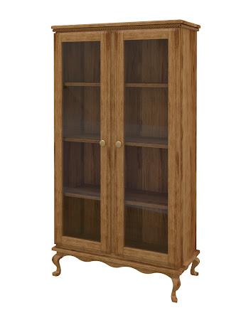 Queen Anne Glass Door Bookshelf in Lamar Maple