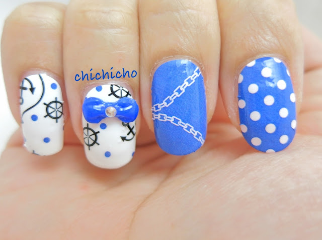 Blue Nautical / Sailor Nail Wrap