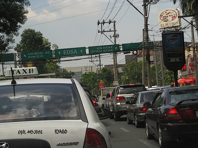 bumper to bumper traffic along Julia Vargas Avenue
