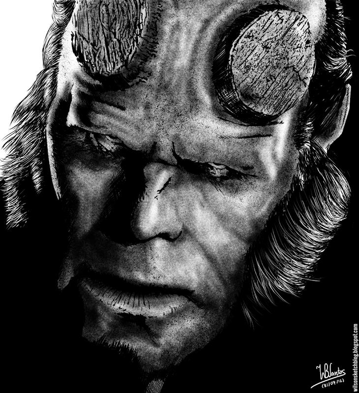 Ink drawing of Ron Perlman as Hellboy, using Krita 2.4.