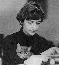 Francoise Sagan and a cat