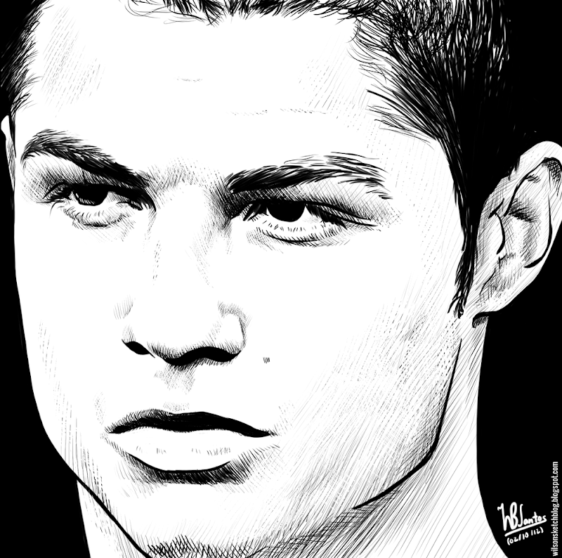Ink drawing of Cristiano Ronaldo, using Krita 2.4.