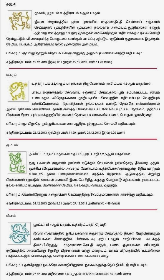 For 2013 Guru Peyarchi Pothu Palan Click Here For Weekly Rasi Palan