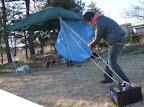 朝、強風で本部テントやばし、ボイジャーで補強 2012-04-21T07:27:59.000Z