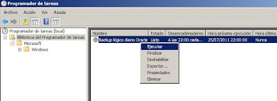 Tarea programada para copia lógica de Oracle en Windows Server 2008